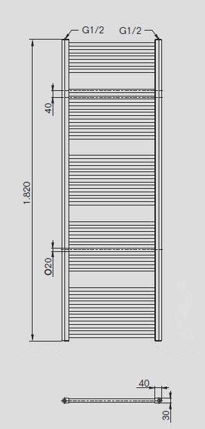 buderus handtuchw rmer handtuchheizung badheizk rper 1820x600 mit ventil armatur. Black Bedroom Furniture Sets. Home Design Ideas