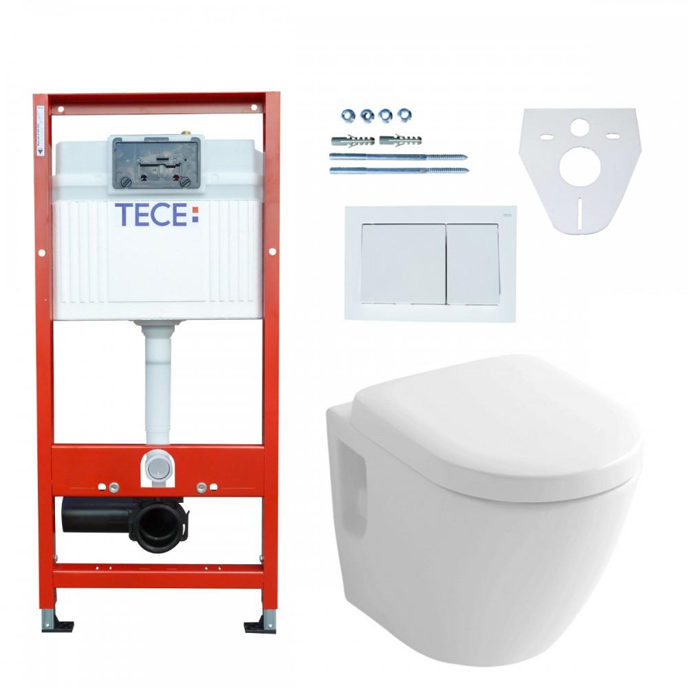 Tece Vorwandelement + Toto Wand-WC CW762Y mit Tornado-Flush + Sitz ...