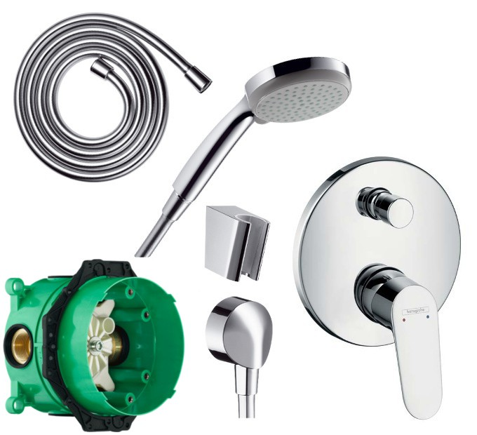 hansgrohe duschset dusche einhebel wannenmischer ibox und croma 100 handbrause ebay. Black Bedroom Furniture Sets. Home Design Ideas