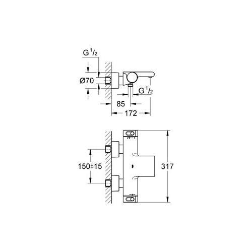 Grohe Grohtherm Thermostat Wannenbatterie - technische Zeichnung
