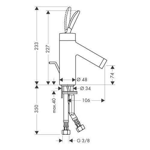 Hansgrohe Waschtischmischer Axor Starck Classic - technische Zeichnung