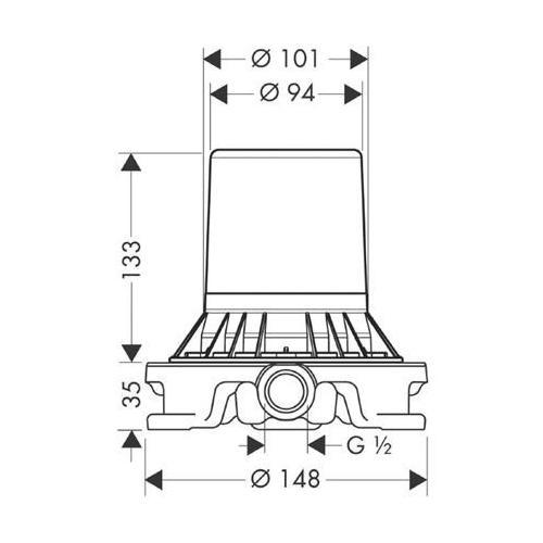 Hansgrohe Grundset Zweigriff Wannenarmatur technische Zeichnung
