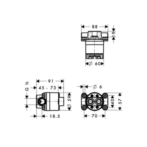 Hansgrohe Grundset Axor Starck Duschsäule mit Thermostat - technische Zeichnung