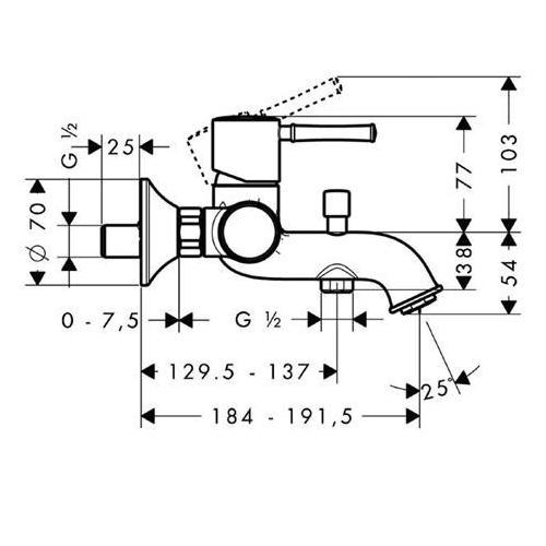 Hansgrohe Wannenmischer Talis Classic - technische Zeichnung