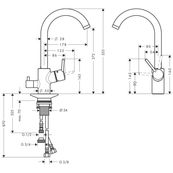 Hansgrohe Spültischmischer Talis S Variarc mit Geräteabsperrventil - technische Zeichnung