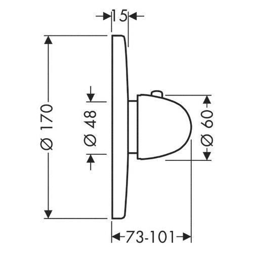 Rainshower Dusche Unterputz : Hansgrohe Thermostatmischer Ecostat – technische Zeichnung