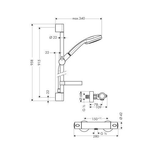 Hansgrohe Brausenkombi Croma 100 Multi/Ecostat 1001 SL & Brausenstange Unica'C 900 mm - technische Zeichnung