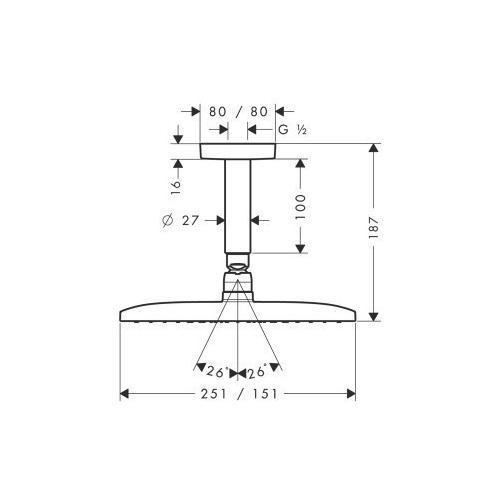 Hansgrohe Kopfbrause Raindance E 240 Air 251 x 151 mm Deckenmontage - technische Zeichnung