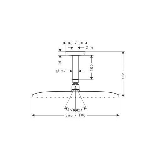 Hansgrohe Kopfbrause Raindance E 360 Air 1jet 360 x 190 mm Deckenmontage - technische Zeichnung