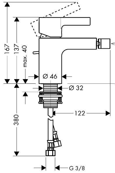 Hansgrohe Bidetmischer Metris S - technische Zeichnung