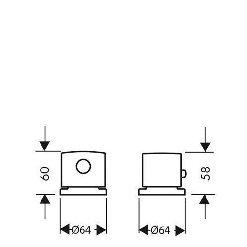 Hansgrohe 2-Loch Thermostatmischer Axor Uno - technische Zeichnung