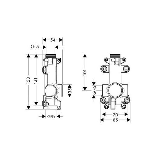Hansgrohe Ablage Axor Starck Grundset - technische Zeichnung