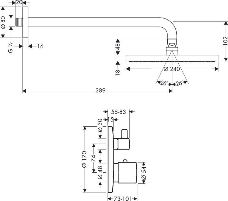 Hansgrohe Brausenkombi Raindance Air Kopfbrause und Thermostatmischer - technische Zeichnung