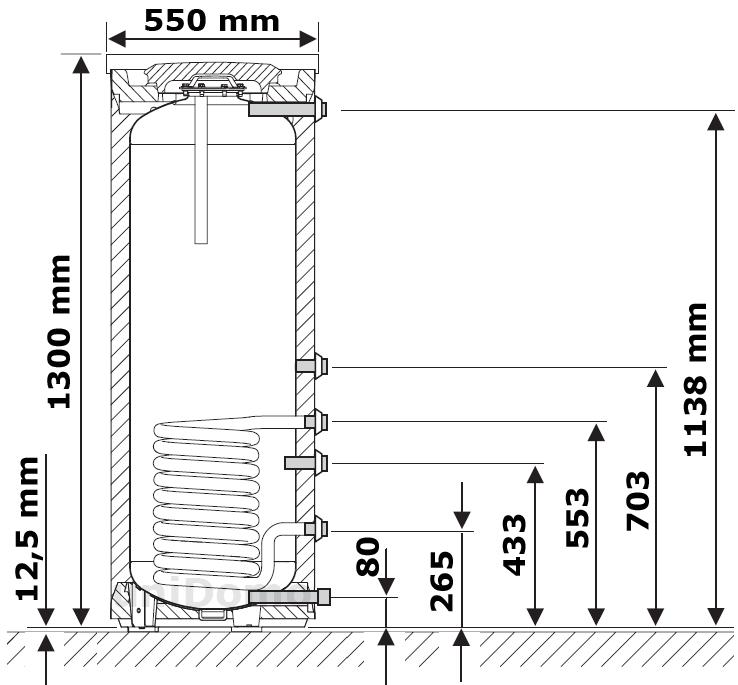 Abmessungen Junkers SK 160 Liter Speicher