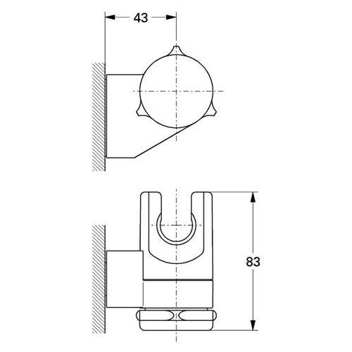 Grohe Wandbrausehalter Relexa - technische Zeichnung