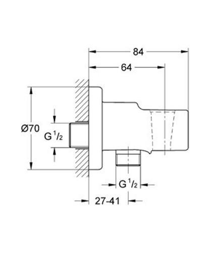 Abmessungen Grohe Wandanschlussbogen mit Brausenhalter