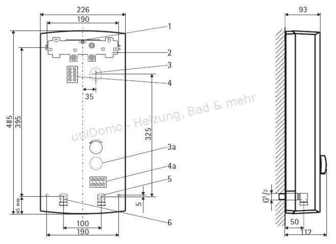 AEG DDLE Elektronischer Durchlauferhitzer - technische Zeichnung