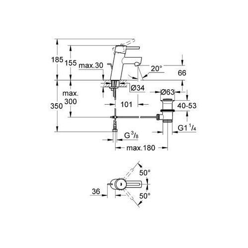 Grohe Concetto Waschtisch-Armatur mit Zugstangen-Ablaufgarnitur - technische Zeichnung