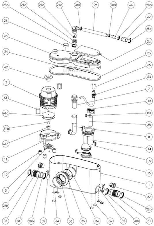Explosionszeichnung SFA Sanibroy Sanibest Pro