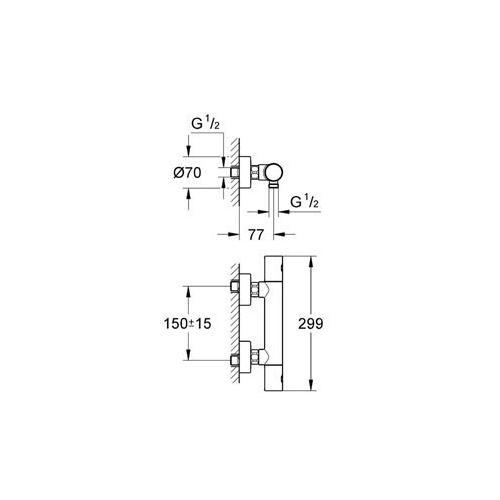 Aufputz Armatur Dusche Grohe : Grohe Cosmopolitan 1000 C Thermostat Armatur Grohtherm Dusche 34065