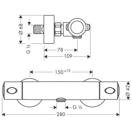 Hansgrohe Ecostat 1001 SL Axor Uno² Brausethermostat - technische Zeichnung
