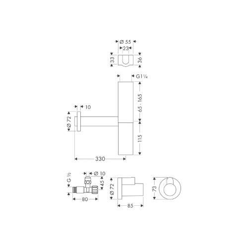 Hansgrohe Flowstar Design Siphon Set - technische Zeichnung