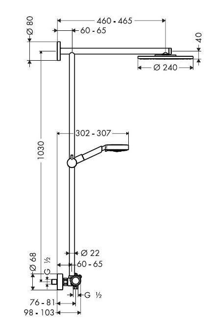 Technische Zeichnung Raindance Showerpipe 27160000