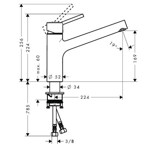 Abmessungen Talis S Einhebel-Küchenarmatur - technische Zeichnung