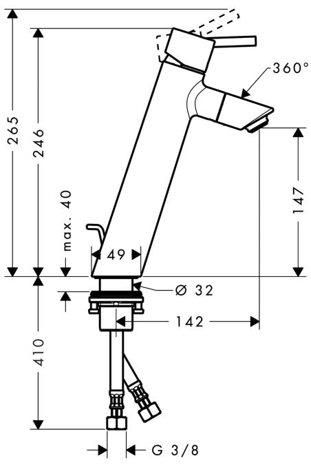 Hansgrohe Waschtischmischer Talis - technische Zeichnung