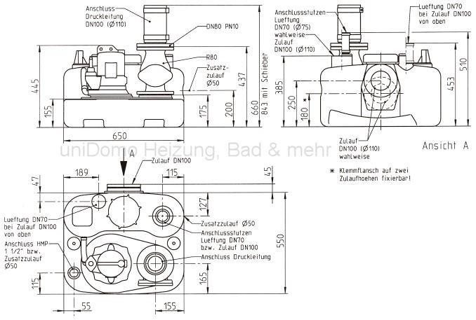 Technische Zeichnung Jung Compli 400 E Hebeanlage JP09770