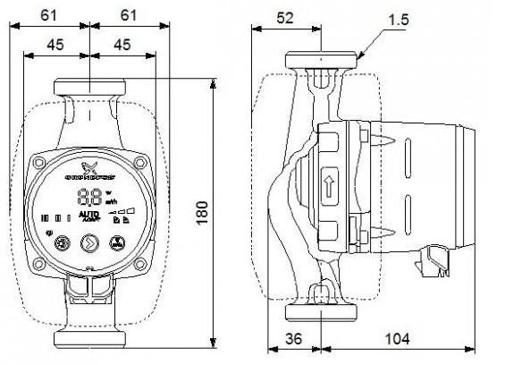 grundfos alpha 2 25 40 180 umw lzpumpe mit autoadapt. Black Bedroom Furniture Sets. Home Design Ideas