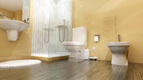 SFA Sanibroy SANIPRO WC Hebeanlage Fotomontage zur Darstellung des Einbaus - Ansicht ganzes Bad