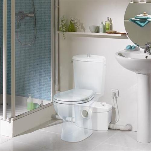 SFA Sanibroy SANIPRO WC Hebeanlage Fotomontage Darstellung des Einbaus