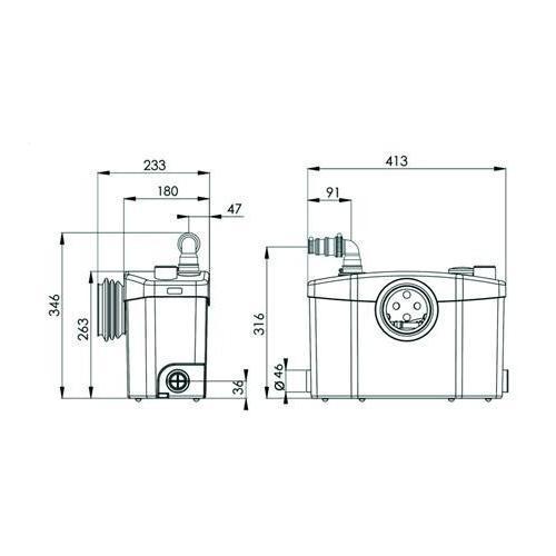 SFA Sanibroy SANIPRO WC Hebeanlage - technische Zeichnung
