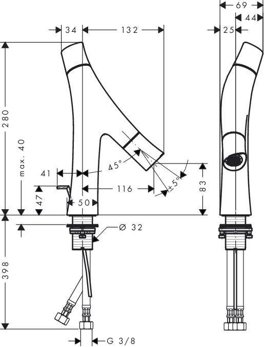 Hansgrohe Axor Starck Organic 2-Griff-Waschtischmischer - technische Zeichnung