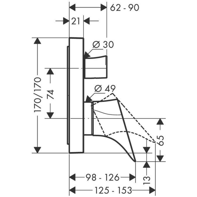 Hansgrohe Axor Starck Organic Einhebel-Wannenmischer - technische Zeichnung