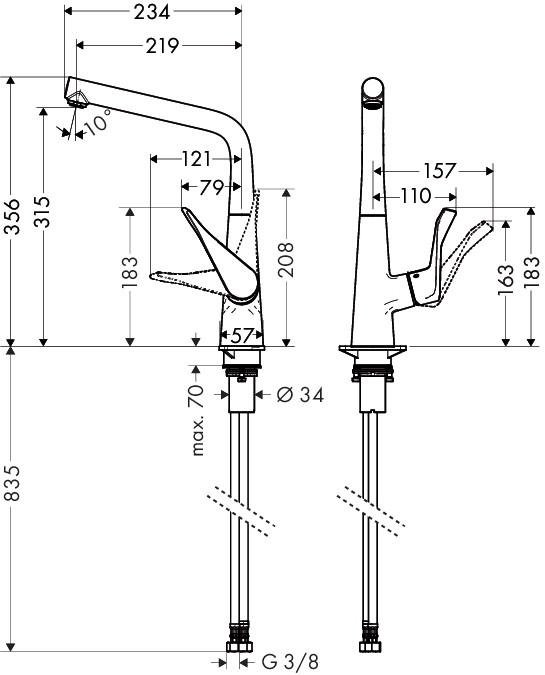 Hansgrohe Metris Einhebel-Küchenmischer - technische Zeichnung