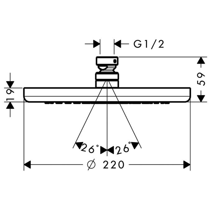 Hansgrohe Croma Kopfbrause - technische Zeichnung