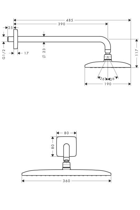 Hansgrohe Raindance Kopfbrause - technische Zeichnung