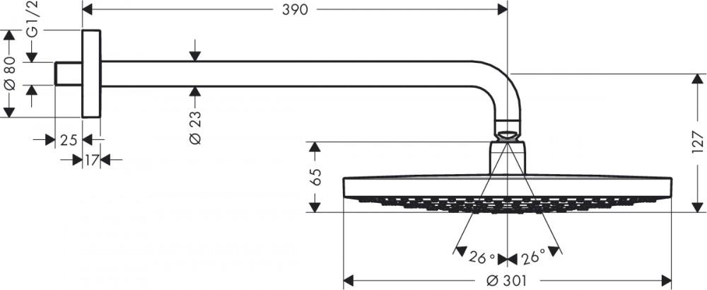 Hansgrohe Raindance Select Kopfbrause - technische Zeichnung