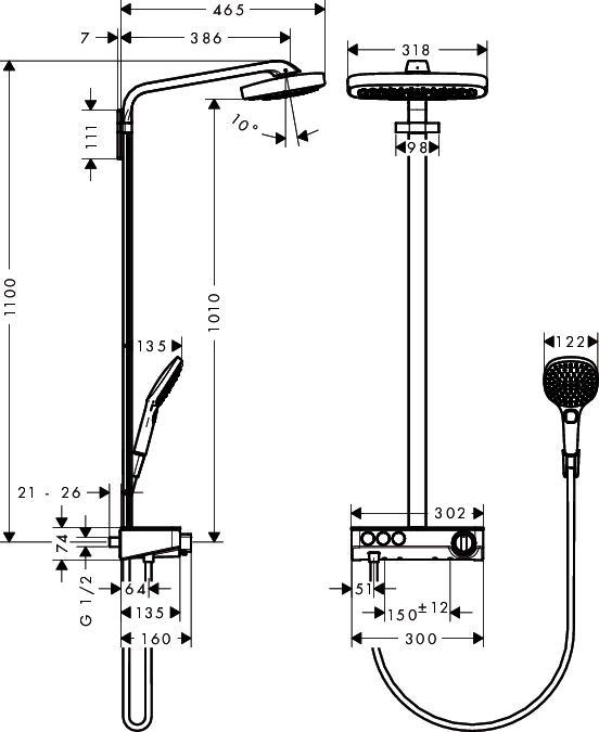 Hansgrohe Raindance Select Showerpipe - technische Zeichnung