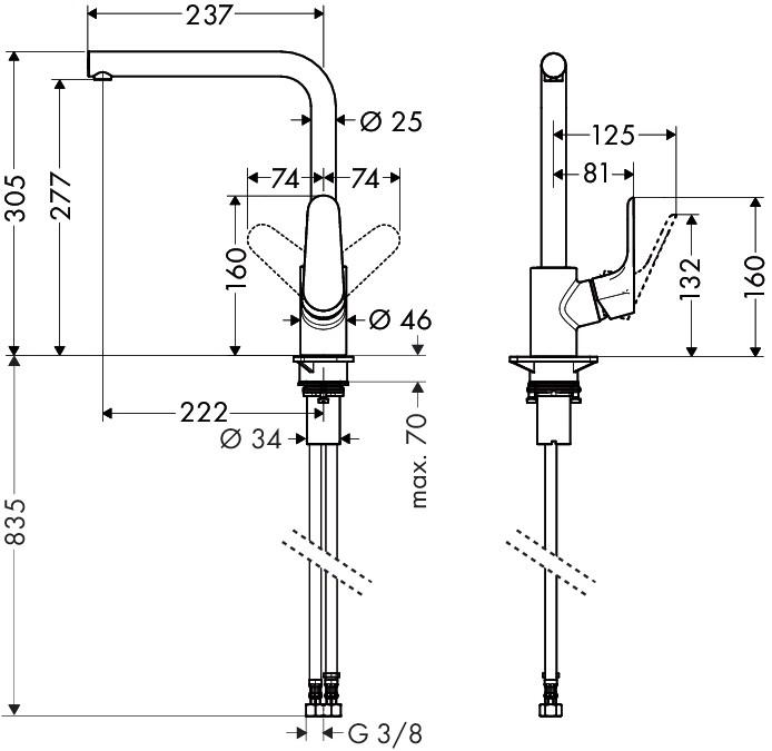 Hansgrohe Focus Einhebel-Küchenmischer - technische Zeichnung