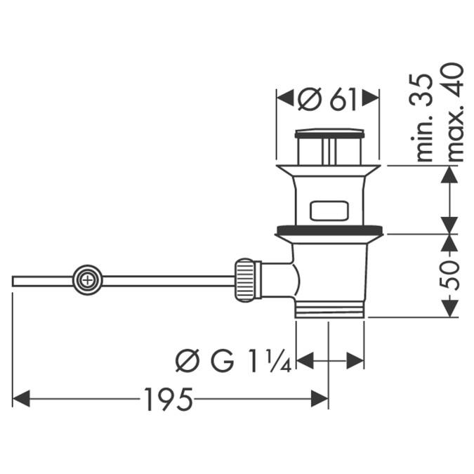 Hansgrohe Zugstangen-Ablaufgarnitur - technische Zeichnung