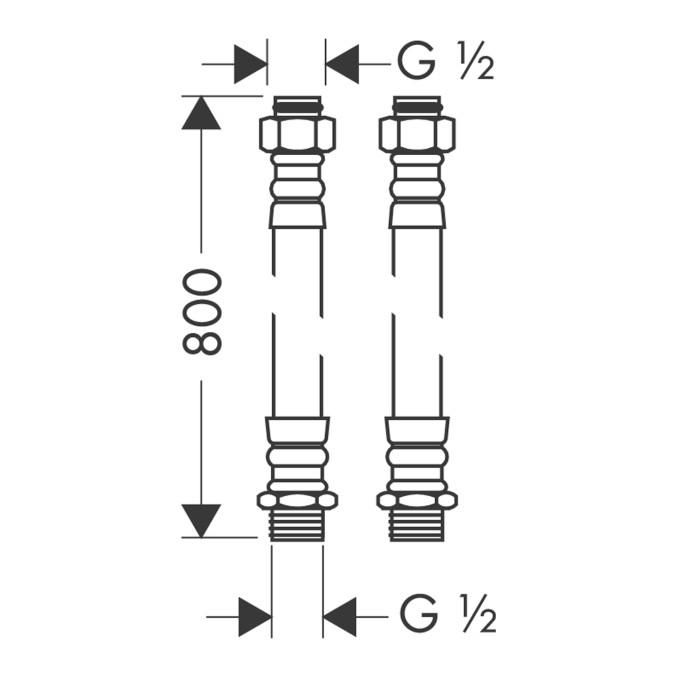 Hansgrohe Anschlußschlauchset für 2-Loch - technische Zeichnung