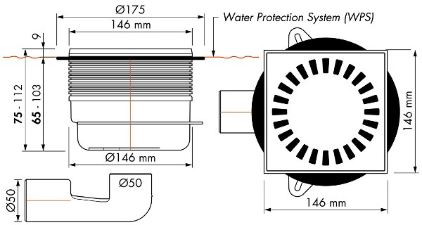 Flache Dusche Siphon Reinigen : ESS Easy Drain Bodenablauf Dusche Quadrat 15 x 15 cm Abdeckung