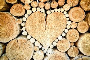 Queransicht Holzscheitel, einer in Herzform